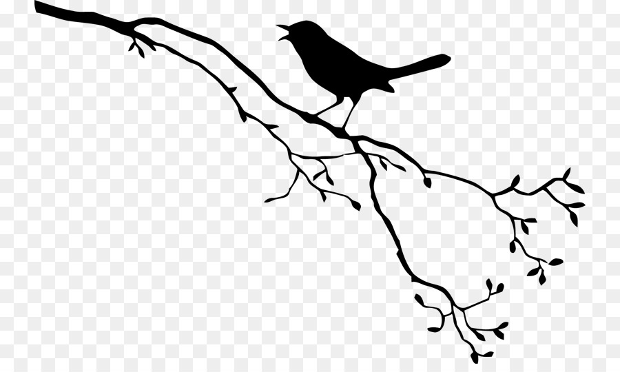 Free birds black and white clipart borders graphic transparent download Tree Branch Silhouette png download - 800*528 - Free Transparent ... graphic transparent download