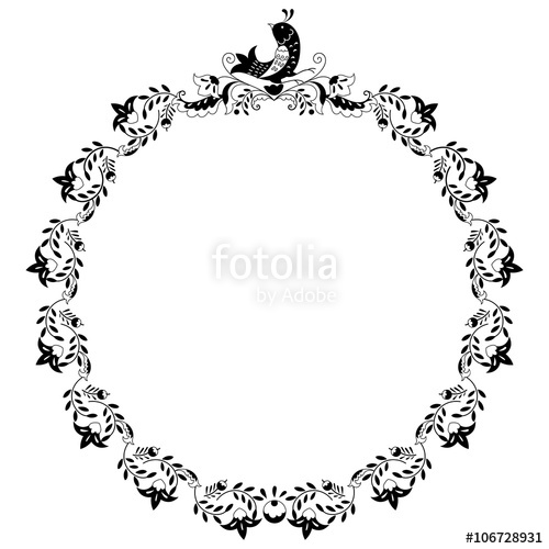 Free birds black and white clipart borders clipart black and white stock Round black and white border frame with doodle flowers and bird. Can ... clipart black and white stock