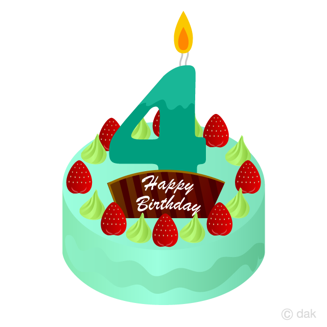 Free clipart of happy birthday with 4 candle.  years old cake