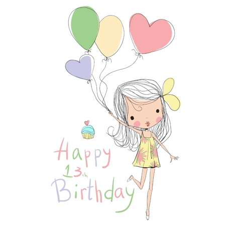 Free birthday clipart for a 8 year old girl clip free library Happy 13th Birthday : Notebook, Journal, Diary, 105 Lined Pages, Cute  Birthday Gifts for 13 Year Old Girls, Teens, Daughter, Granddaughter, Book  Size ... clip free library