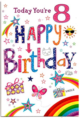 Free birthday clipart for a 8 year old girl clipart library library Birthday Card for Eight (8) Year Old Girl - Free 1st Class Post (UK) clipart library library