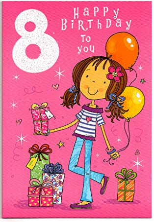 Free birthday clipart for a 8 year old girl clip art freeuse stock Birthday card for Eight (8) Year Old Girl - Free 1st Class Post (UK ... clip art freeuse stock