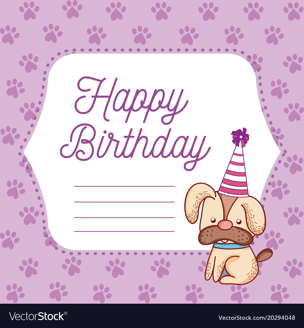 Free birthday clipart pets jpg banner black and white library Happy birthday blank note pets cartoons vector image on VectorStock banner black and white library