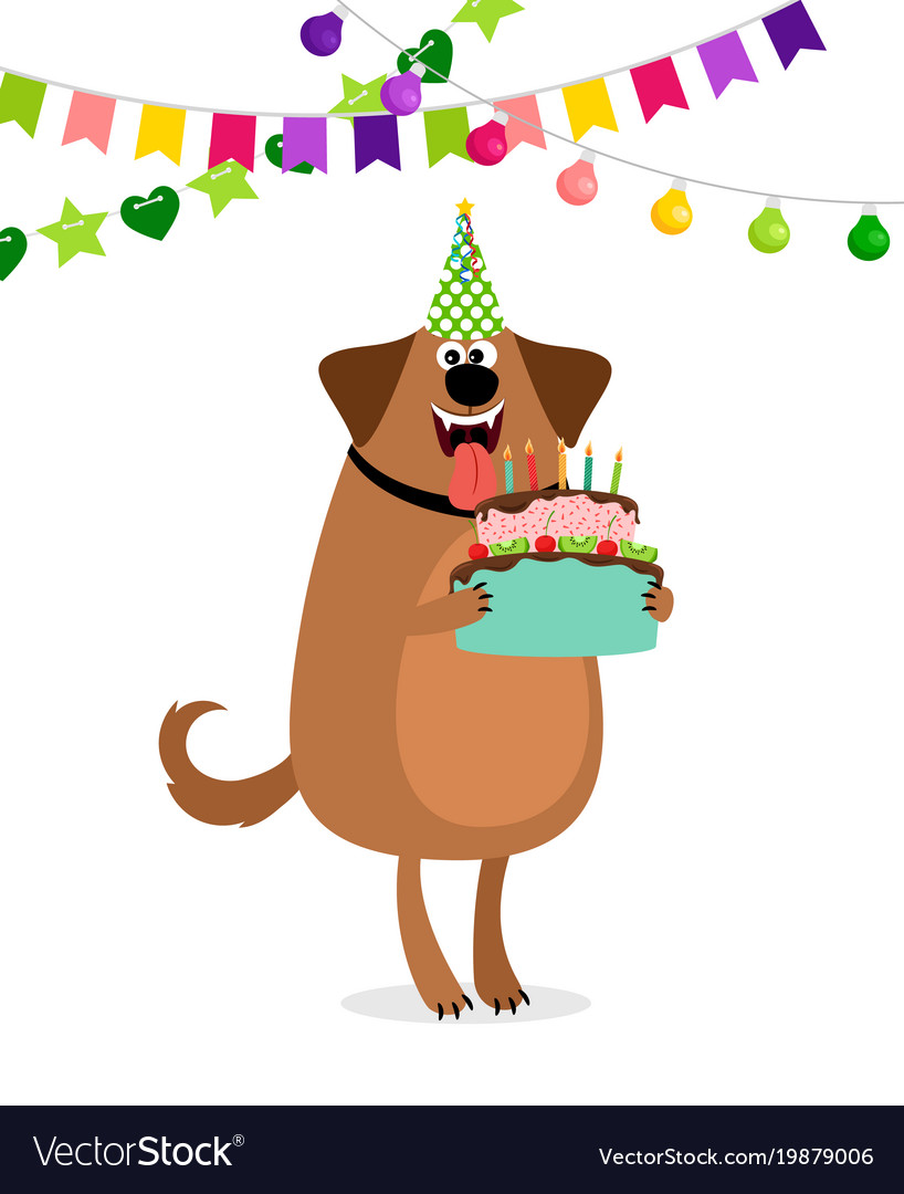 Dachshund birthday clipart clip art library Cartoon dog and cake birthday card clip art library