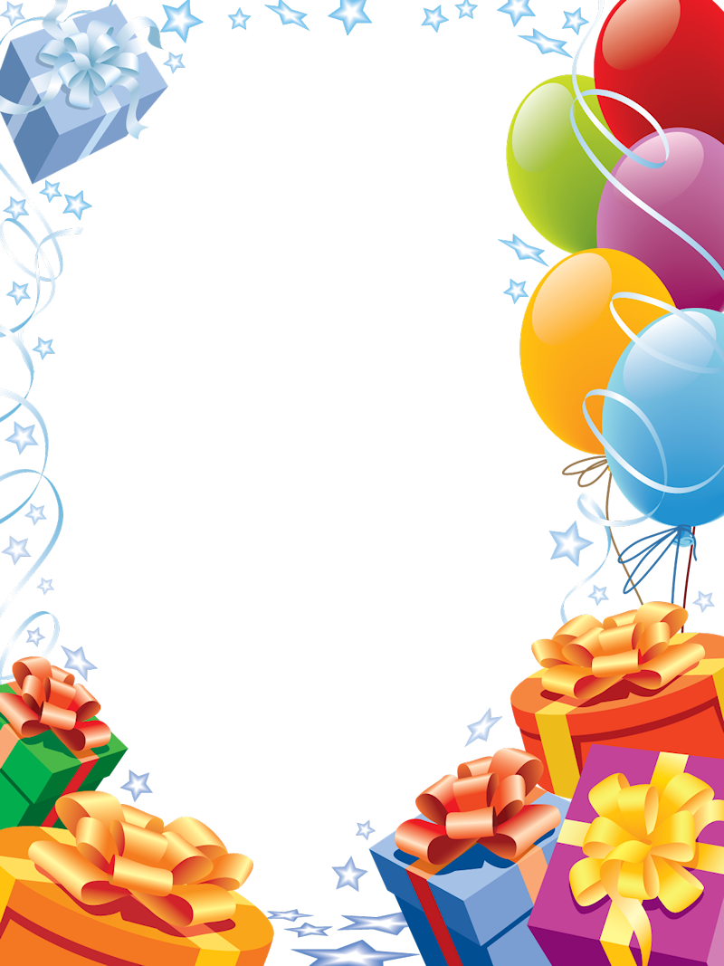 Free birthday open house clipart graphic freeuse library Happy Birthday Transparent Frame with Gifts and Balloons   Frames ... graphic freeuse library