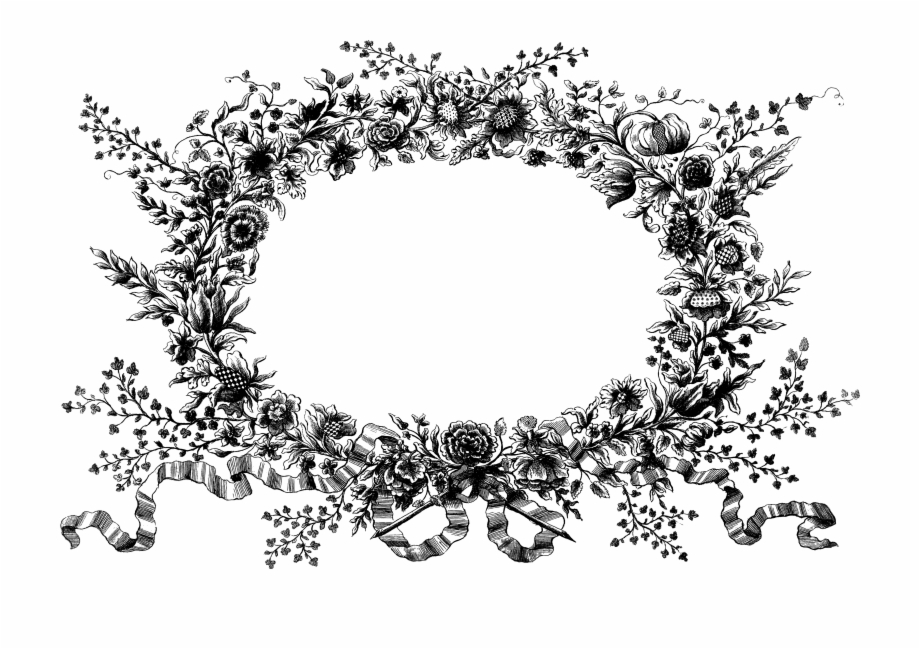 Shabby floweral wreath clipart png black and white download Graphic Royalty Free Stock Floral Wreath Clipart Black - Vintage ... png black and white download