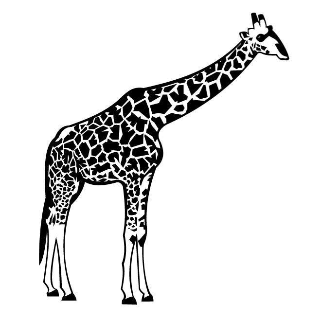 Free black and white clipart for giraffe. Vector clip art eps