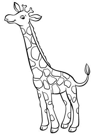 stock vector illustration. Free black and white clipart for giraffe