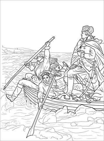 Free black and white clipart george washington boat illustration graphic library George Washington Crossing the Delaware coloring page | Free ... graphic library