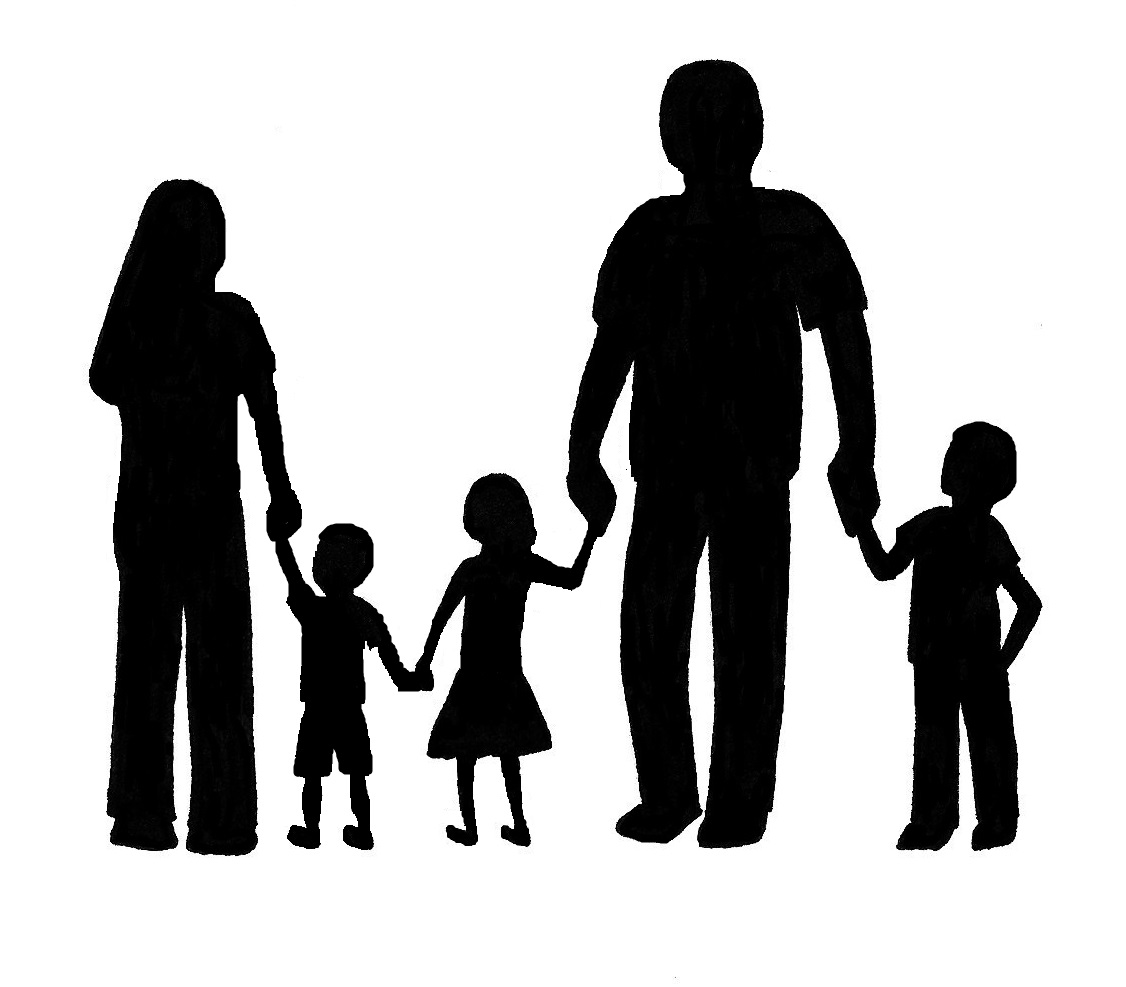 Nuclear family clipart black and white two girls png black and white library Family Clipart Black And White | Free download best Family Clipart ... png black and white library