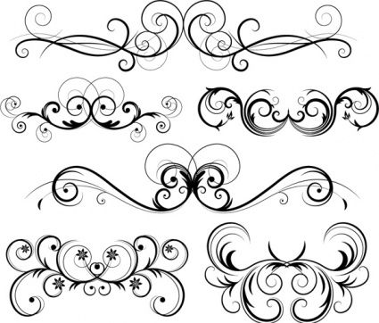 Filigree swirls vector image. Free black and white clipart images filagree design