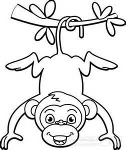 Free black and white clipart monkey. Hanging from tree outline