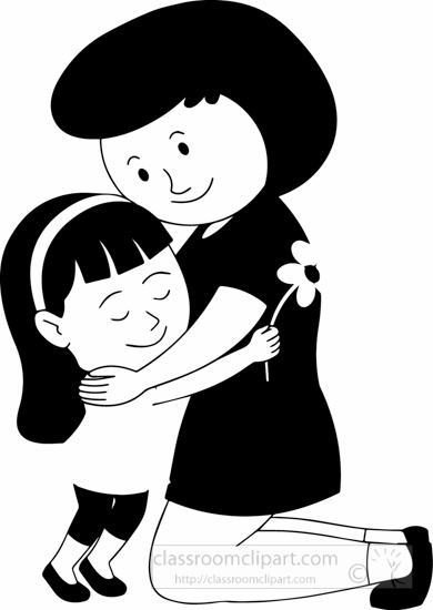Free black and white clipart mother and child. Children outline clip art
