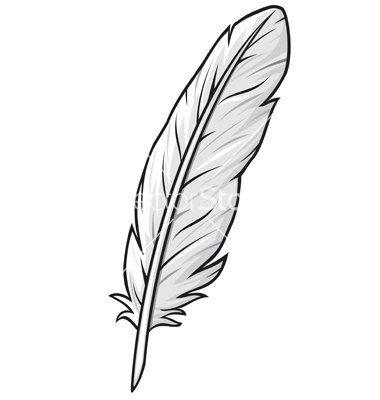 Free black and white clipart of a feather. Drawing download clip art