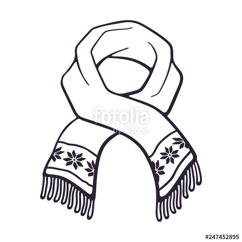 Vector illustration hand drawn. Free black and white clipart winter scarf