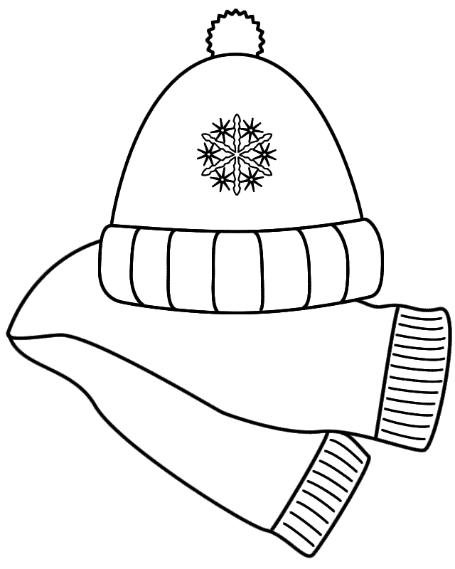 Free black and white clipart winter scarf. Hat clip art wikiclipart