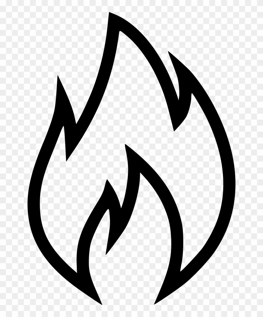 Free black and white flame clipart. Svg library png icon