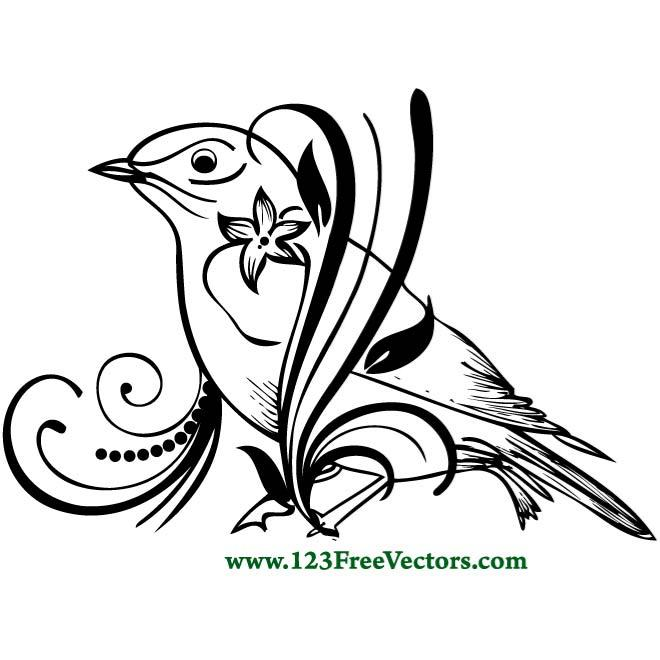 Free black and white flower and bird clipart image freeuse library BIRD ON A FLOWER - Free vector image in AI and EPS format. image freeuse library