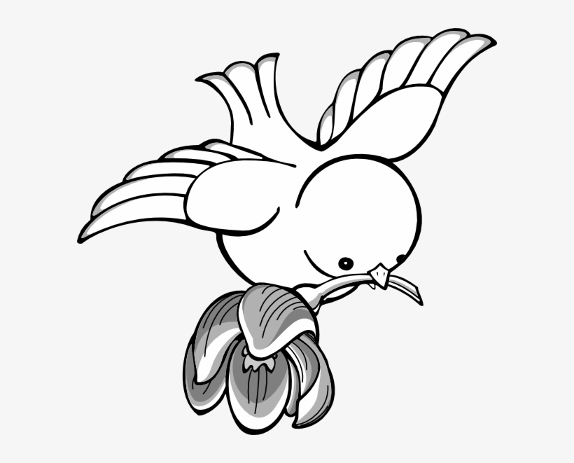 Free black and white flower and bird clipart clip art free library Bird Flying With Flower Clip Art Vector - Flying Birds Clipart Black ... clip art free library