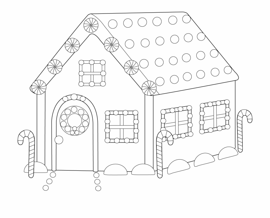 Free black and white ginger bread house clipart free picture black and white library House Line Cliparts - Ginger Bread House Colouring Draft Free PNG ... picture black and white library