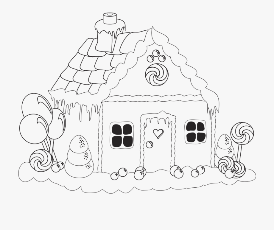 Free black and white ginger bread house clipart free svg download Candy House At Getdrawings Com Free For - Simple Gingerbread House ... svg download