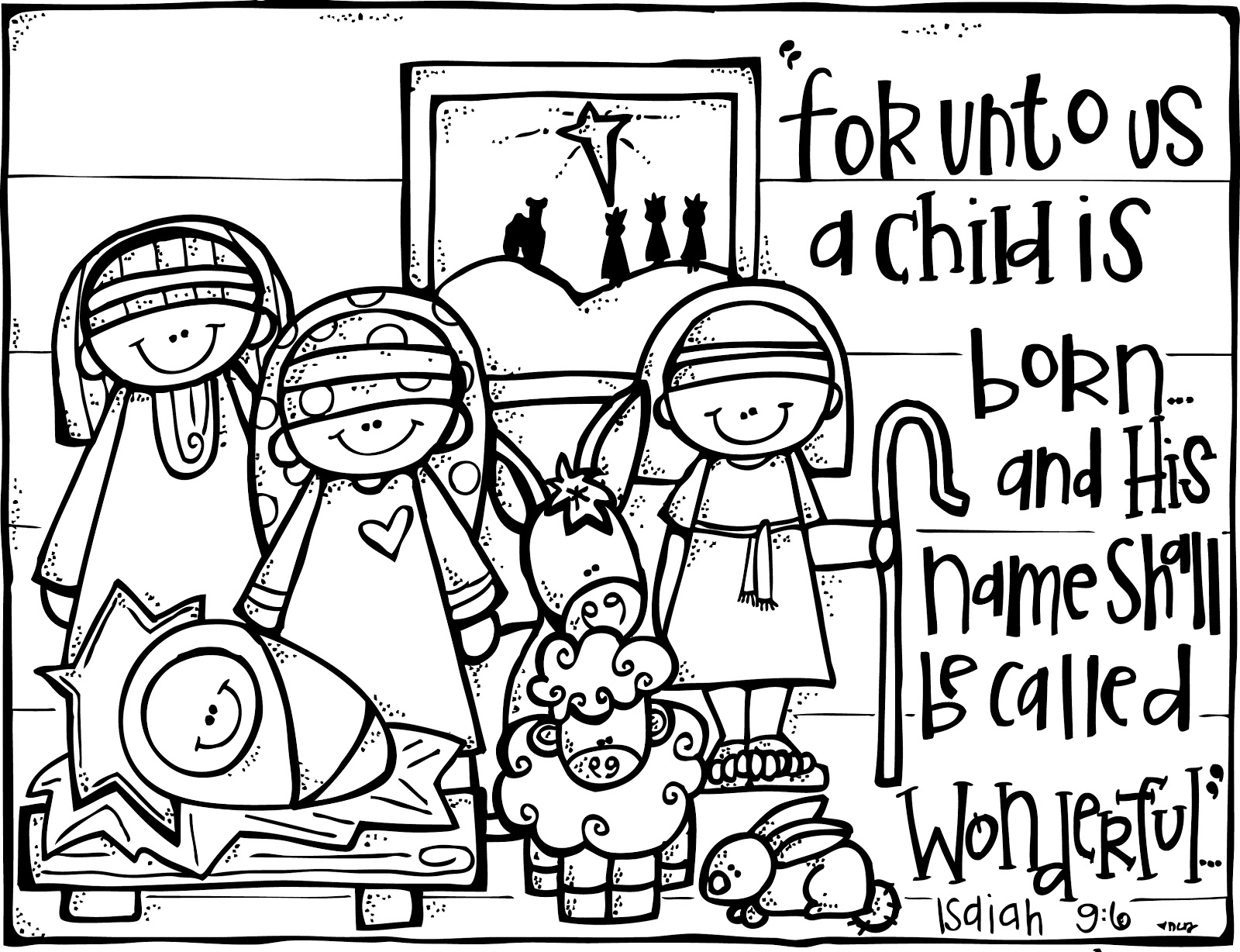 Free black and white large print christmas clipart image Nativity black and white large print black and white religious ... image