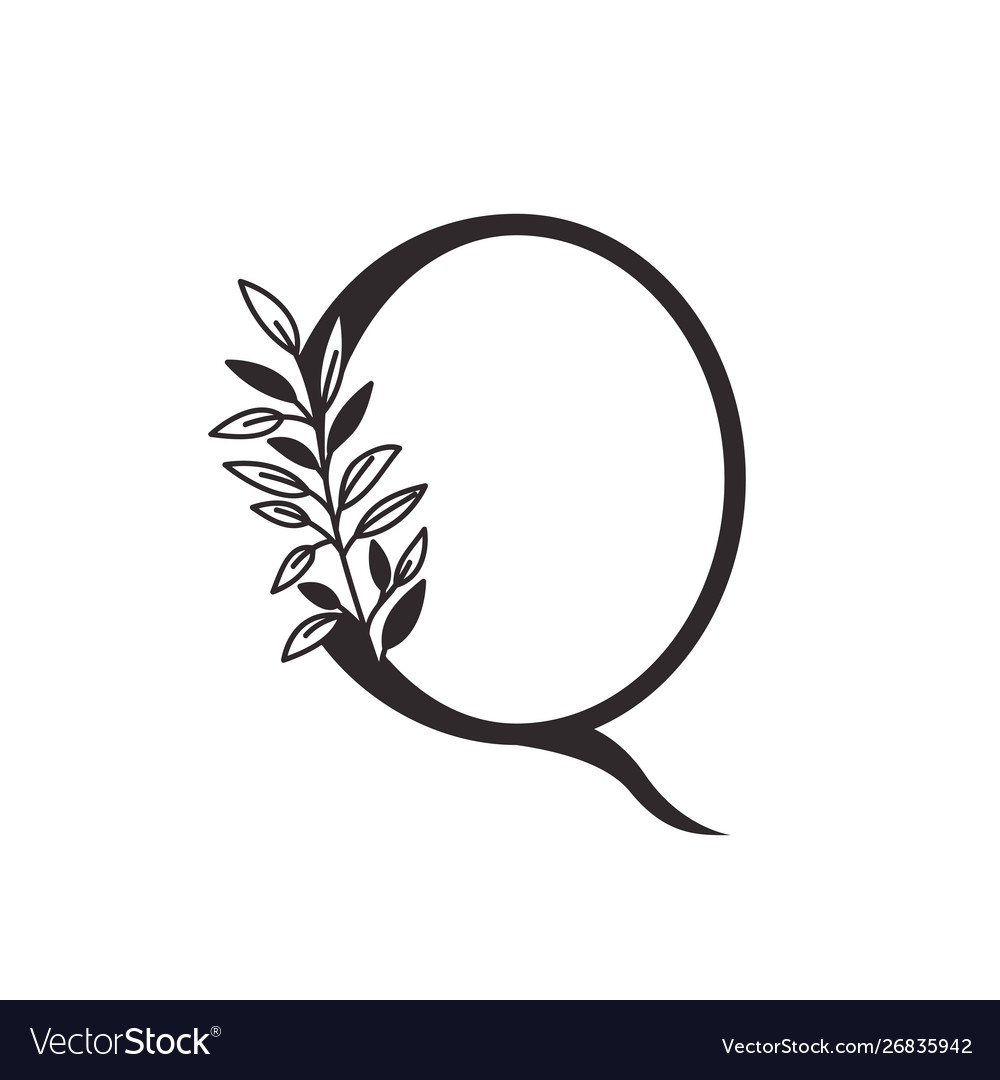 Free black and white leaf alphabet clipart banner royalty free Letter q alphabet with leaves banner royalty free