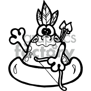 Free black and white native american clipart. Frog art royalty