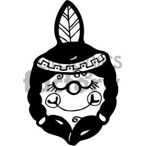 Free black and white native american clipart. Girl royalty