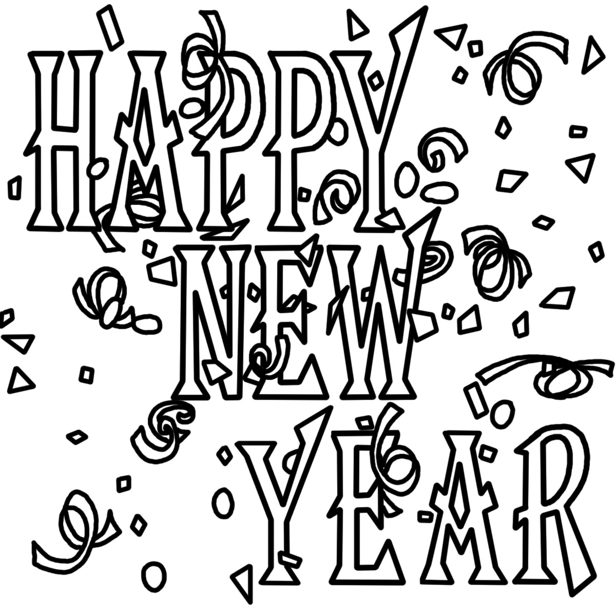 New years party images. Free black and white news eve clipart