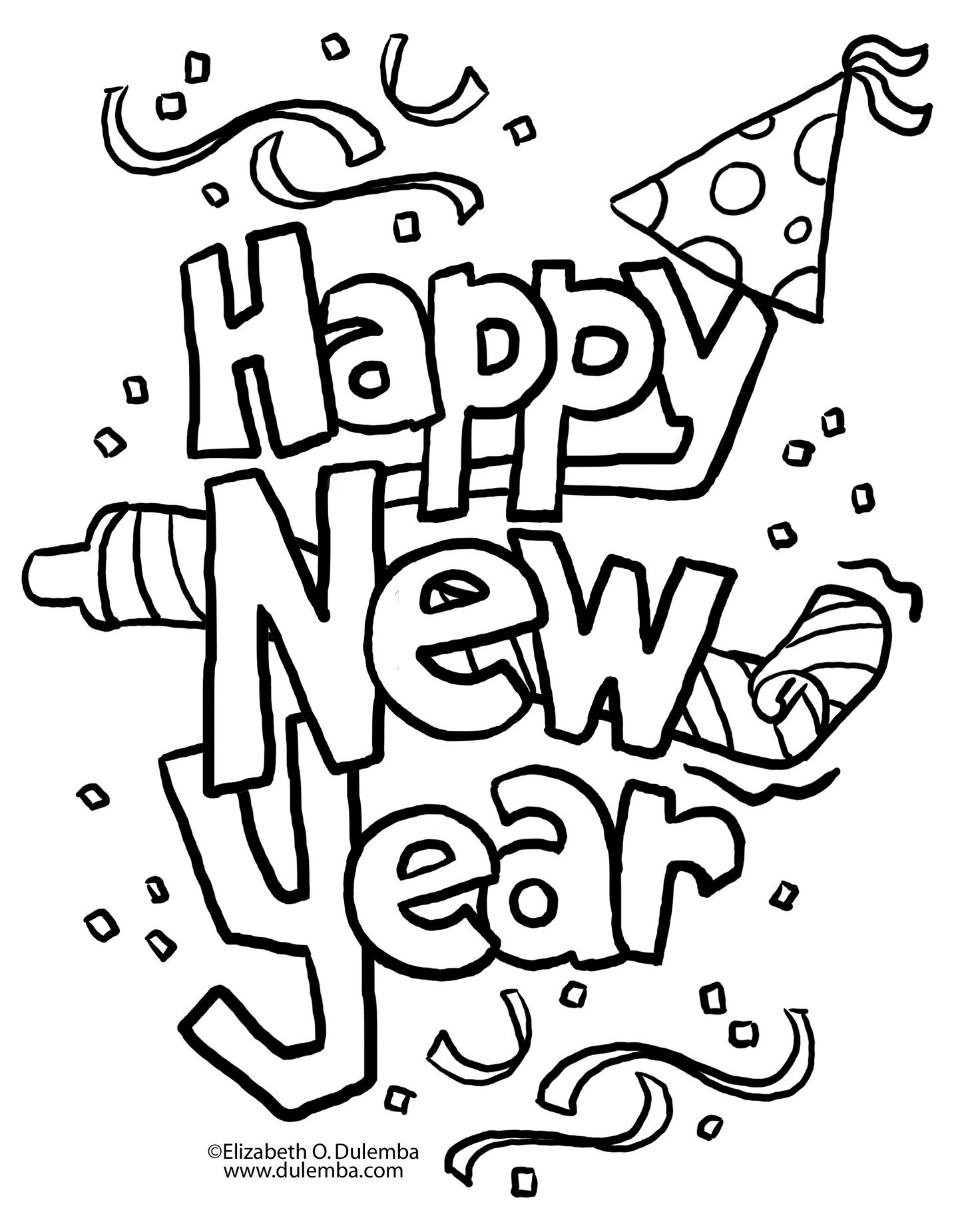 Happy new year black and white free clipart svg A New Twist on New Year\'s Eve | coloring pages | New year coloring ... svg