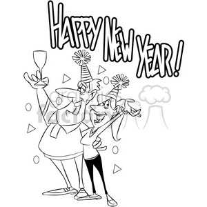 Free black and white news eve clipart. New years party