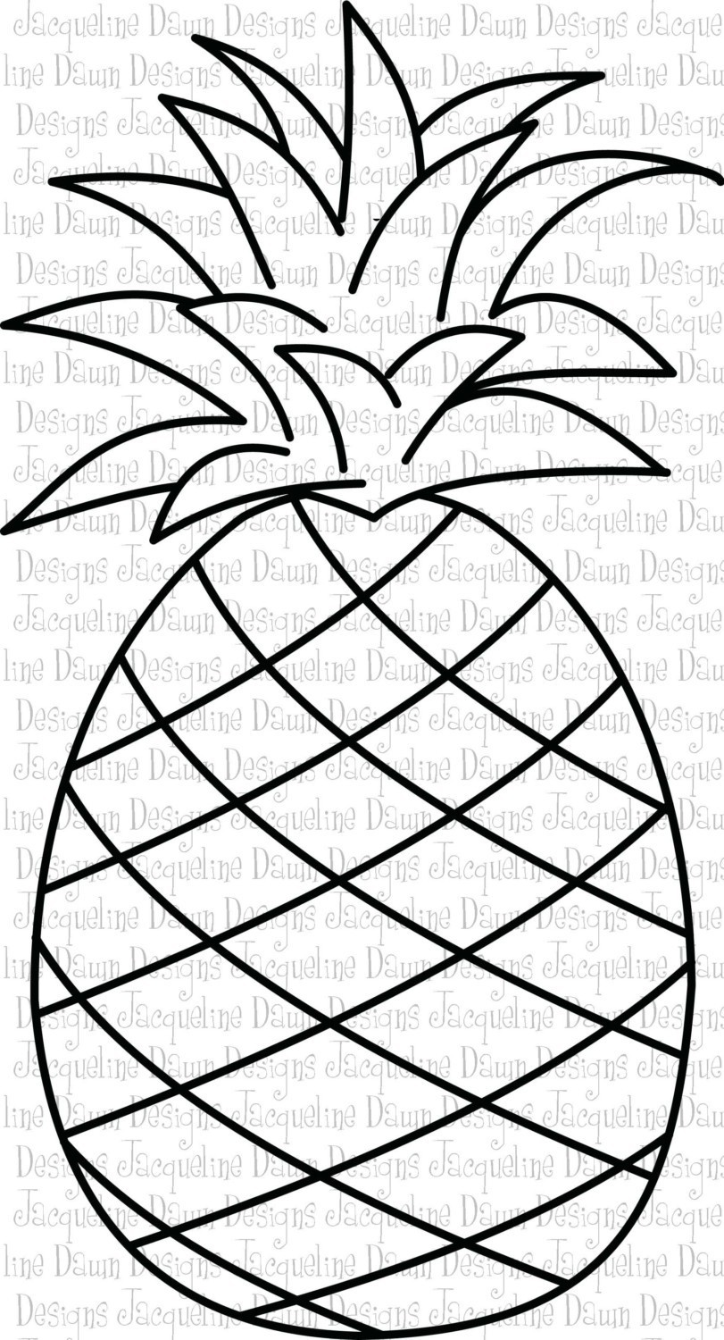 Free black and white pineapple clipart. Outline image of a