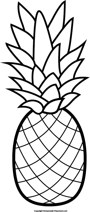 Free black and white pineapple clipart