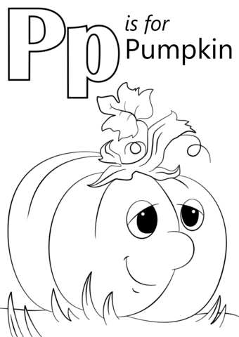 Free black and white pumpkin alphabet clipart vector transparent download Letter P is for Pumpkin coloring page | Free Printable Coloring Pages vector transparent download