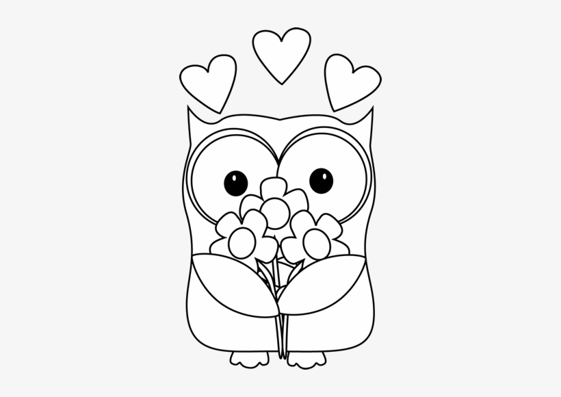 Valentine s clipart black & white transparent stock Black And White Valentine\'s Day Owl Clip Art - Clipart Black And ... transparent stock