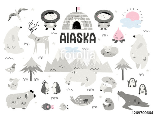 Free black & white clipart alaskian seal clip download Animals of Alaska and Eskimos. Large vector set of elements ... clip download