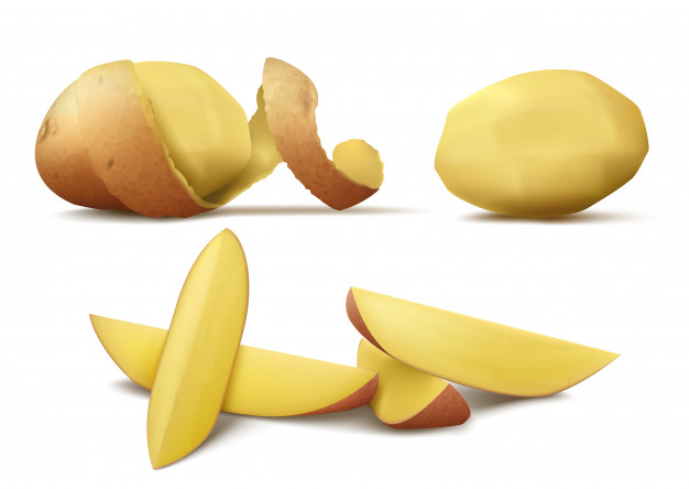 Free black & white clipart potato peel. Realistic with raw peeled