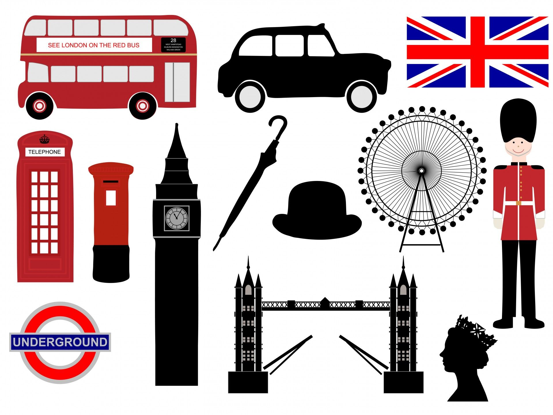Free british clipart vector black and white stock Londra Icone ClipArt | Cities / Travel | London icons, London logo ... vector black and white stock