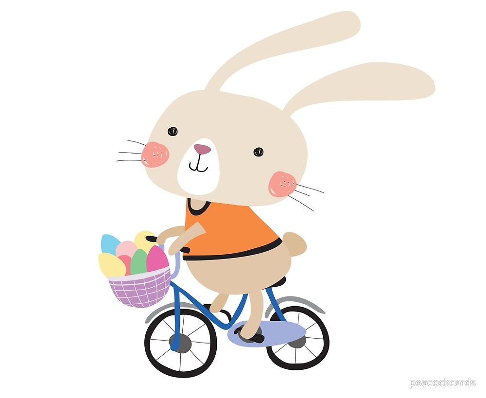 Free bunny riding bicycle clipart clipart library Holidays Easter Bunny on Bicycle With Eggs\