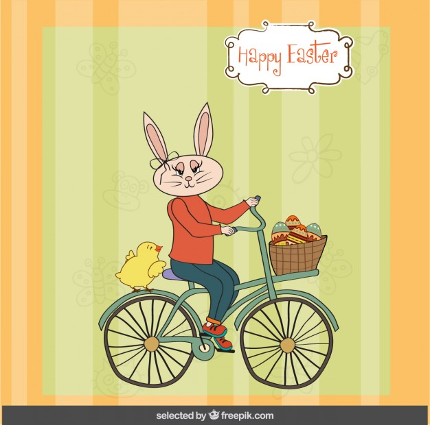 Free bunny riding bicycle clipart. Easter card with rabbit