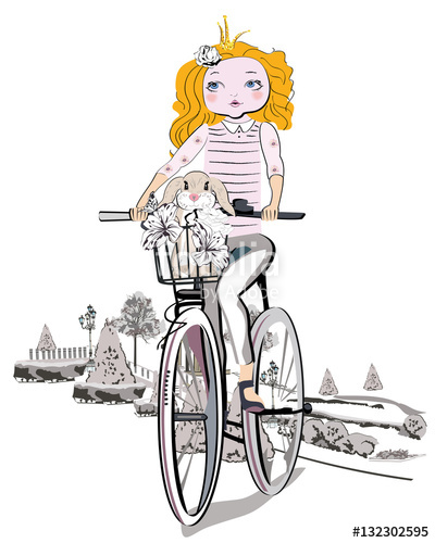 Free bunny riding bicycle clipart picture transparent download Sketch of a cute fashion girl with a bunny riding the bicycle ... picture transparent download
