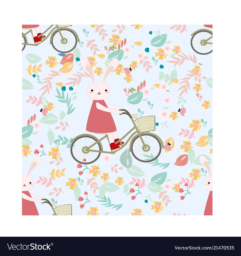 Free bunny riding bicycle clipart clipart library download Seamless pattern rabbit bunny ride bicycle in clipart library download