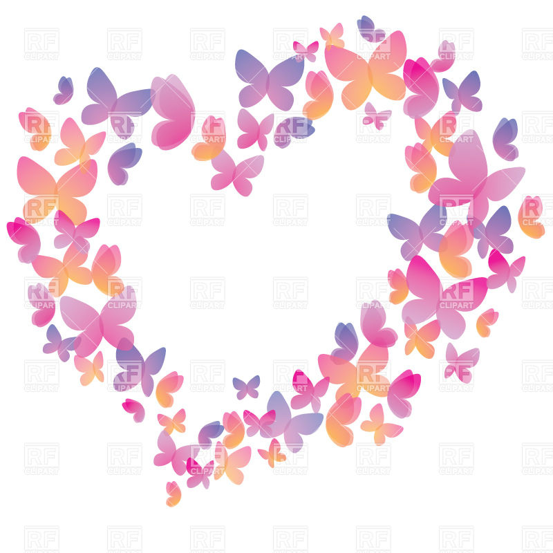 Free butterfly hearts clipart vector library library Heart shaped frame made of multi-colored stylized butterflies ... vector library library