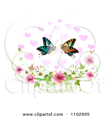 Free butterfly hearts clipart graphic black and white Clipart Butterfly Pair With Hearts Over Blossoms On White ... graphic black and white