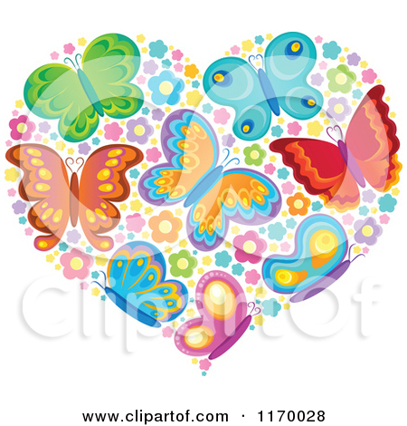 Free butterfly hearts clipart vector freeuse library Clipart Heart Made Of Colorful Butterflies And Blossoms - Royalty ... vector freeuse library