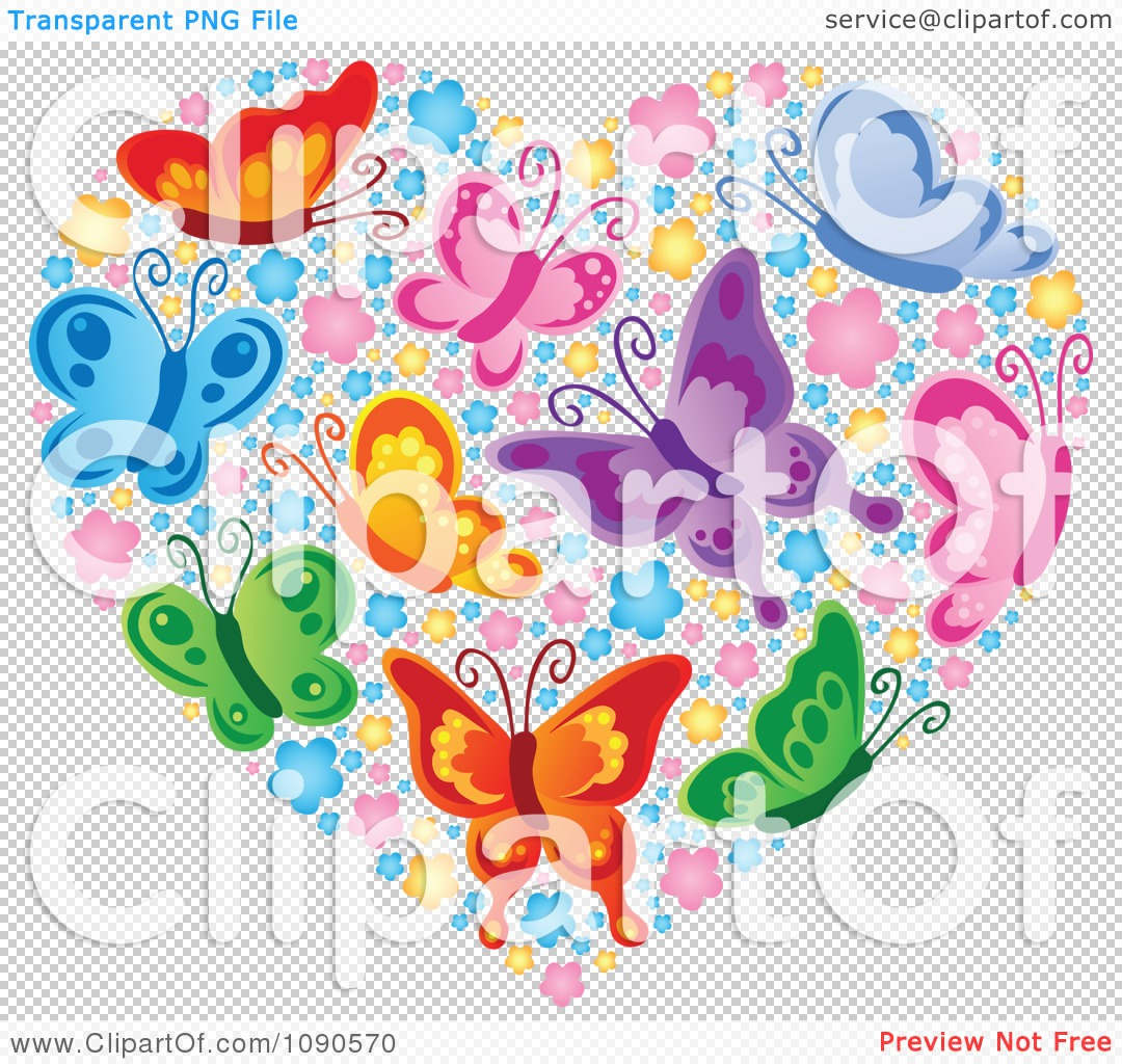 Free butterfly hearts clipart image free library Clipart Heart Made Of Colorful Butterflies And Blossoms - Royalty ... image free library