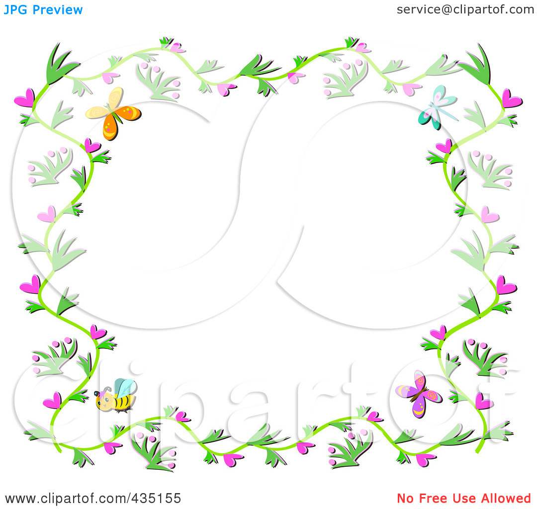 Free butterfly hearts clipart jpg freeuse download Royalty-Free (RF) Clipart Illustration of a Floral Vine Border ... jpg freeuse download