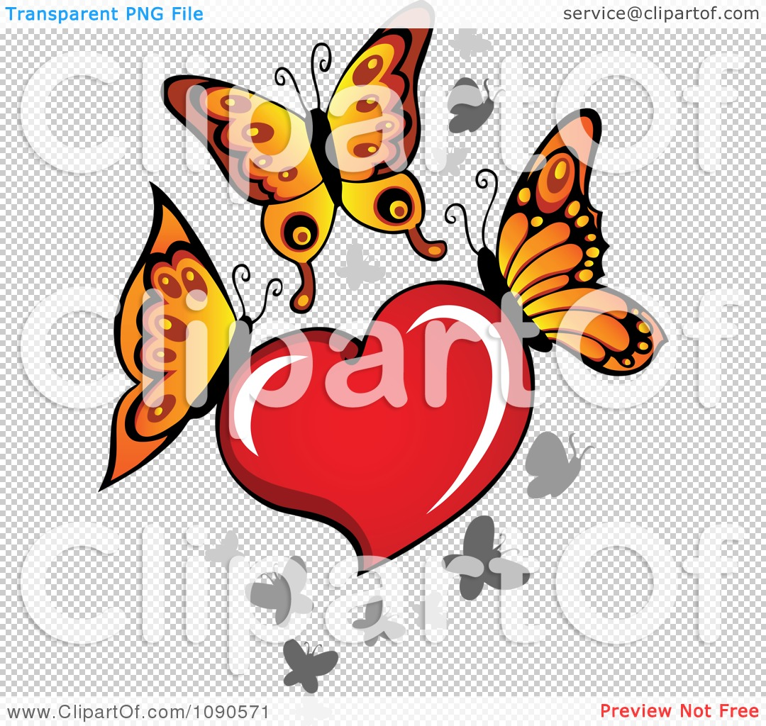 Free butterfly hearts clipart vector library download Clipart Red Heart With Butterflies - Royalty Free Vector ... vector library download
