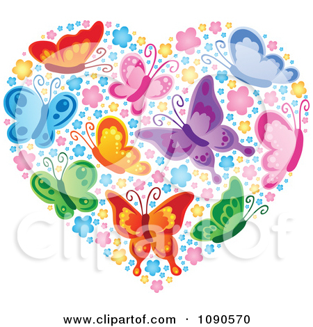 Free butterfly hearts clipart graphic stock Clipart Heart Made Of Colorful Butterflies And Blossoms - Royalty ... graphic stock
